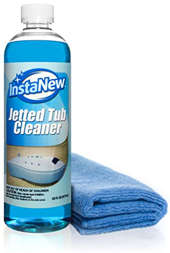 Jetted Tub Cleaner by InstaNew - 16 ounces, Jacuzzi and Bath Tub Jet System Cleaner - Includes Microfiber Cloth