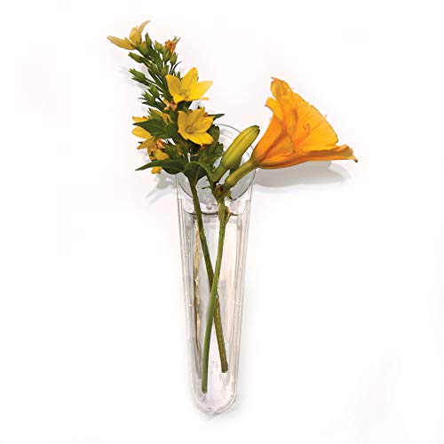 (Gadjit Vinyl Window Vases Mini Single Style (Pack of 2) - Vase are Vinyl Not Glass, Suctions to Windows and Mirrors, Holds Flower Stem and Water, Clear Flexible Vinyl)