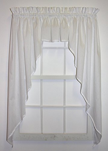 Martha Swag Curtain Set 3 Piece 120-Inch-by-63-Inch, White - 1 1/2 Inch Rod Pocket