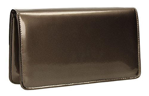 Womens Bag Clutch Sara Party SWANKYSWANS Envelope Patent Ladies Pewter Leather Prom wppRUq7