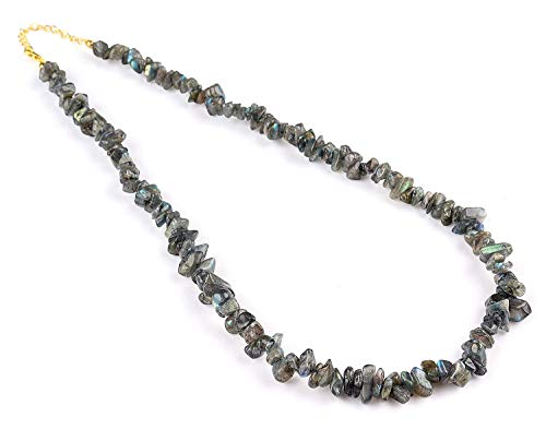 - 14K Gold Filled Silver Natural Raw Labradorite Gemstone Nuggets Beaded Choker Handmade Necklace Women Jewelry