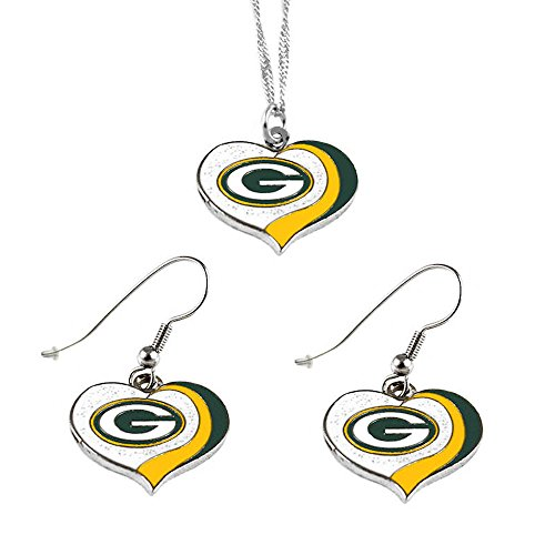 aminco Green Bay Packers Sports Team Logo Glitter Heart Necklace and Earring ()