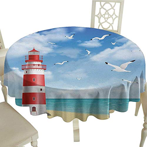 (Curioly Beach Waterproof Anti-Wrinkle no Pollution Realistic Illustration Lighthouse on Calm Seashore Flying Seagulls Ocean Scenery Table Cloth D51.18 Inch Vermilion Blue)