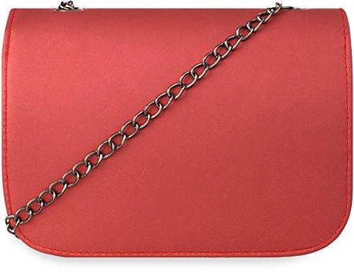 elegante Schultertasche mit Klappe und Kettenriemen Damen �?Abendtasche rot