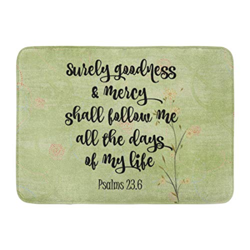 Allenava Bath Mat Green Faith Psalms 23 Surely Goodness and Mercy Bible Verse Quotes Bathroom Decor Rug 16'' x 24'' by Allenava
