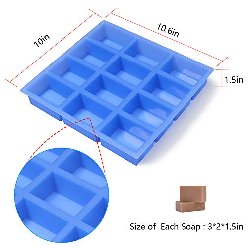 12 Bar Soap Making Mold with Flat Sides and Smooth Lines Jet Lag Rectangle Silicone Soap Molds for Handmade Soap Bar