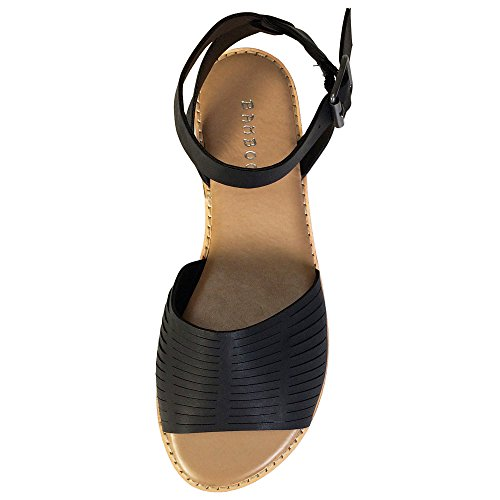 591744017 BAMBOO Women s Wide Band Flat Sandal with Ankle Strap