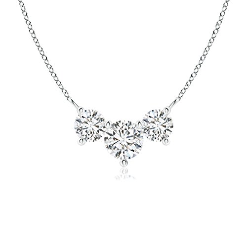 - Classic Lab Grown Diamond Past Present Future Necklace in 14k White Gold