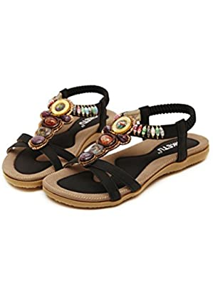 Vogstyle Women's Summer Bead T-Strap Bohemia Roman Sandals Beach Flip Flops  & Thongs: Amazon.co.uk: Shoes & Bags
