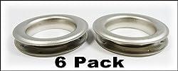 "6pc. #12 (1.5"" hole diameter) Satin Nickel Grommets"