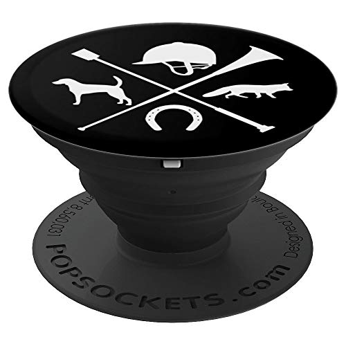 (Fox Hunting Foxhound Crop Foxhunting Horn Hound White Black - PopSockets Grip and Stand for Phones and Tablets)