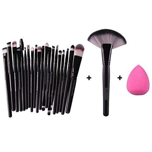 Fullkang 20pcs Makeup Brush Makeup Sponge Makeup Foundation Brush + 1pc Large Fan Brush + 1pc Sponge (Black)