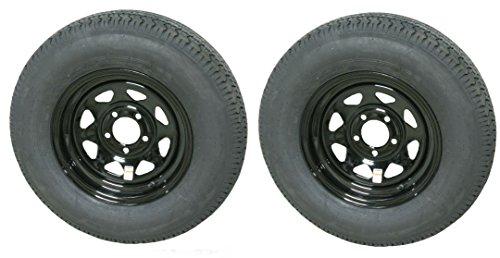 eCustomRim 2-Pack Radial Trailer Tires On Rims ST205/75R15C 15X5 5-4.5 Black Spoke - 15 With Rims Tires