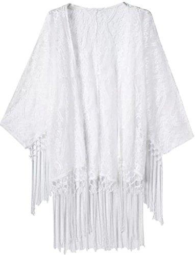Crochet Fringe (Bellady Women's Crochet Lace Fringe Open Front Bating Sleeve Tassels Top Cover Up, White)