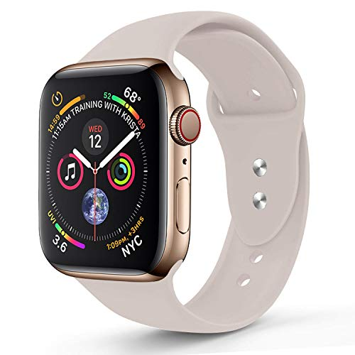 RUOQINI Compatible with Apple Watch Band 40mm,Sport Silicone Soft Replacement Band Compatible for Apple Watch Series 4, S/M Stone