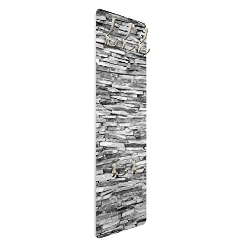 mantiburi Design Garderobe MDF Holz Arizona Stonewall Wand Haken Leiste Flur Diele Steinwand