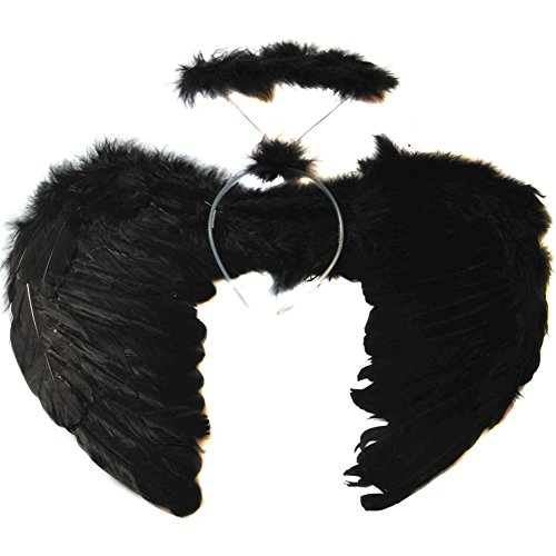ESHOO Kids Feather Angel Wings Wand with Halo Headband for Party Photo -