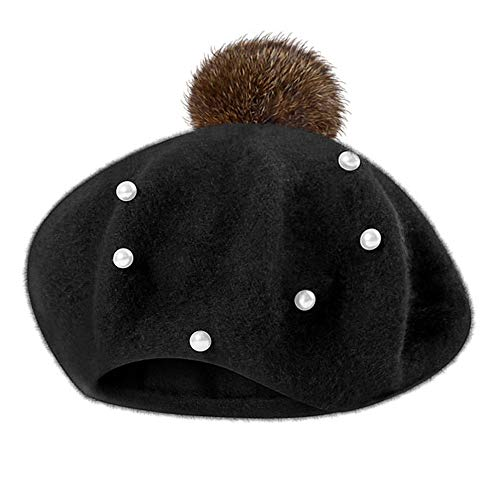 (Jarsh Baby Girl Boy Autumn Winter Warm Pom Pom Caps Pearl Fur Ball Hat Beret)