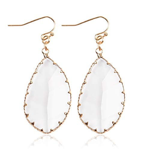 (RIAH FASHION Faceted Geometric Drop Earrings - Sparkly Acrylic Crystal Jewel Statement Dangles Opalescent Oval/Iridescent Hexagon/Leopard Quatrefoil/Animal Scallop/Clear Leaf Teardrop (Leaf - Clear))