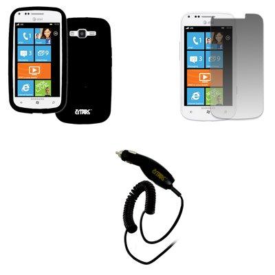 EMPIRE AT&T Samsung Focus 2 I667 Silicone Skin Case Tasche Hülle Cover (Schwarz) + Invisible Displayschutzfolie Film + Auto Charger