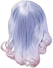 Synthetic Pretty Ombre Human Hair Light Blue Mixed Pink Cosplay Wig for Women Girls