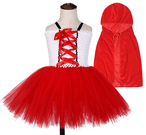 Tutu Dreams Little Red Riding Hood Costume for Baby Girl with Velvet Hooded Cape Cloak Birthday Party (Little Red Riding Hood, Small)