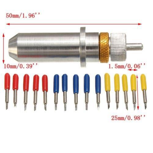 15 piezas 30 45 60 grados Roland GCC Cortador de plotter de vinilo cuchilla + soporte GW: Amazon.es: Amazon.es