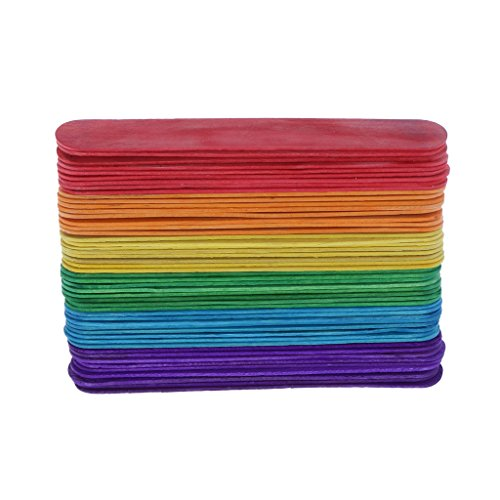 Rainbow Colored Wood (Baoblaze 50 Pieces Rainbow Colored Popsicle Sticks Wooden Treat Sticks for Art project Home Improvemen DIY Wood Craft Sticks - M)