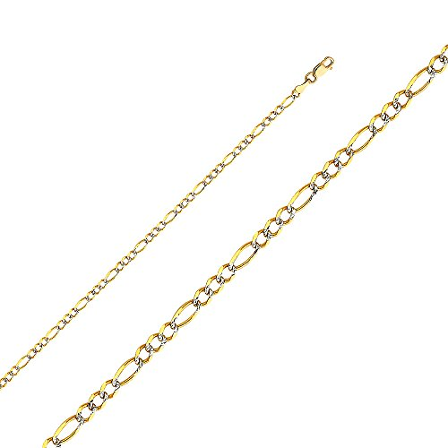 14k Yellow Gold Solid 2.5mm Figaro 3+1 White Pave Chain Bracelet with Lobster Claw Clasp - 7