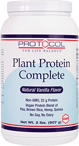 Protocol For Life Balance - Plant Protein Complete - Vegan Protein Blend of Pea, Brown Rice, Hemp, and Quinoa - Natural Vanilla Flavor - 2 lbs. (907 g) (Brown Rice Protein Concentrate compare prices)