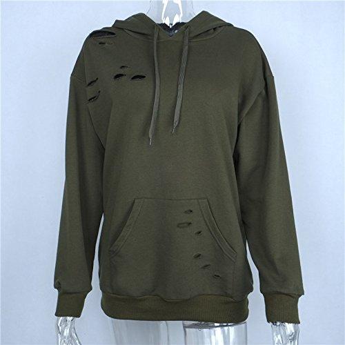 Moda Con Hoodies Manica Unisex Cappotto Casual Sweatshirt Verdi Sciolto Puro Felpa Colore Sweater Pullover Elegante Strappati Giacca Donna Cappuccio Lunga 5IFxnPOvqw