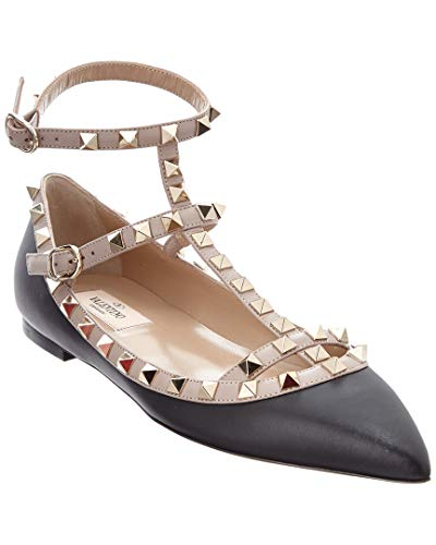 Valentino Rockstud Leather Ballerina Flat, 36, Black for sale  Delivered anywhere in USA