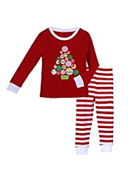 Pettigirl Girls 2 Piece Clothing Set Tree Striped Pajamas 2-7 Y