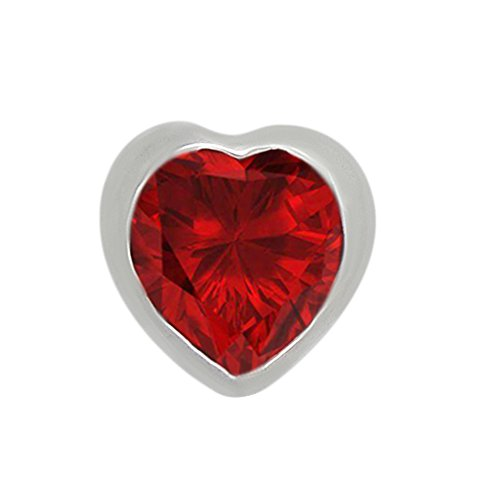 omega jewellery 1.00 Ct Heart Shape Simulated Red Ruby 925 Sterling Silver Bezel Set Solitaire Pendant Without (Omega Style Necklace)