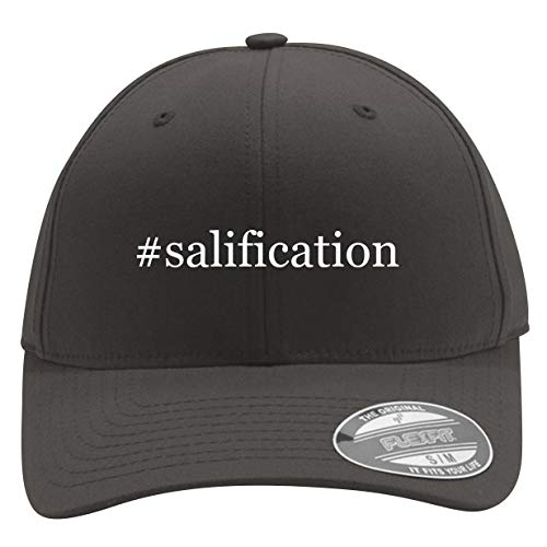 #Salification - Men's Hashtag Flexfit Baseball Cap Hat, Dark Grey, Large/X-Large (Best Of Salif Keita)
