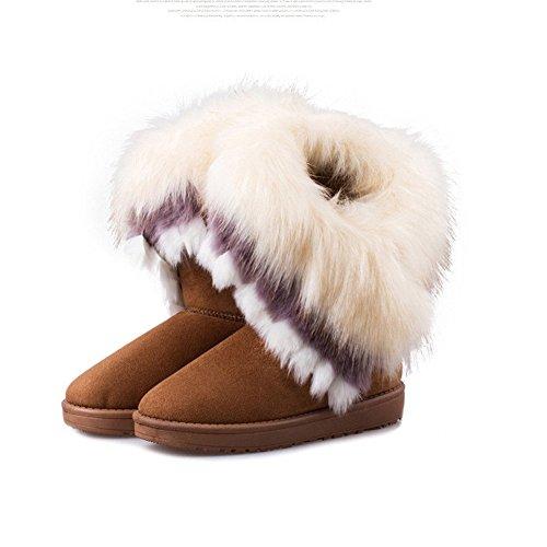 Fur Boots Tassel NOT100 10 Size Warm Ok Woman Brown is 15q0BRw