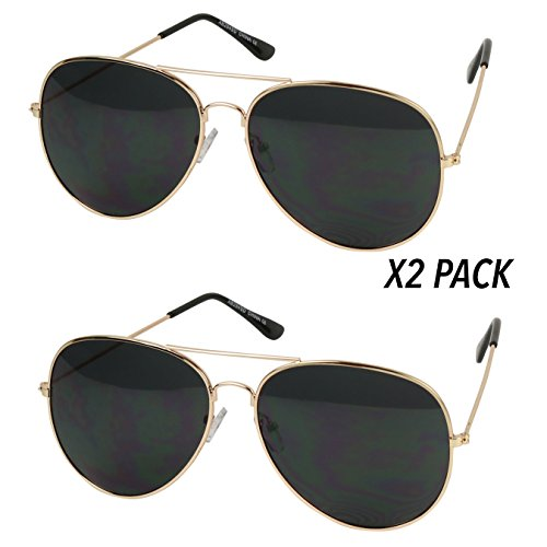 Basik Eyewear - Oversized Pilot Aviator XL Wide Frame Extra Large Sunglasses 150mm (2-Pack Gold Frame, Black - 2 Aviator Large Metal