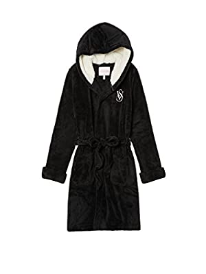 Victoria's Secret Cozy Hooded Short Black Robe - Medium
