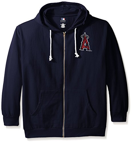MLB California Angels Women's Plus Size Zip Hood with Logo, 2X, Navy by Profile Big & Tall