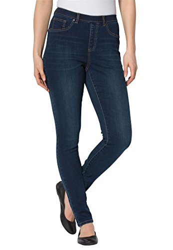 Women's Plus Size New Premium Denim Petite Skinny Pull-On Stretch Jeans Midnight (Plus Size Teen)