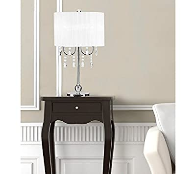 Catalina Lighting Glam Catalina White & Chrome Chandelier Acrylic Accent Table Lamp