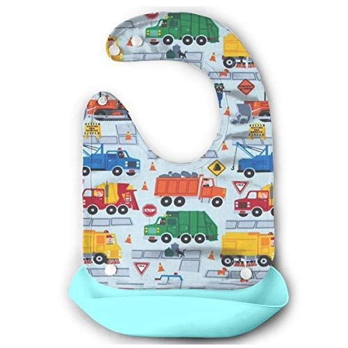 Nageen -yu Construction Trucks Super Silicone Bib- Baby Mouth Towel Waterproof Drooling & Teething Bib Baby Feeding Accessorry Baby Bibs for Boys Girls, Adjustable Snaps Baby Bibs