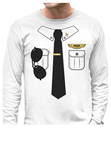 [TeeStars - Pilot Halloween Costume Outfit Suit Long Sleeve T-Shirt Medium White] (Aviation Themed Party Costumes)