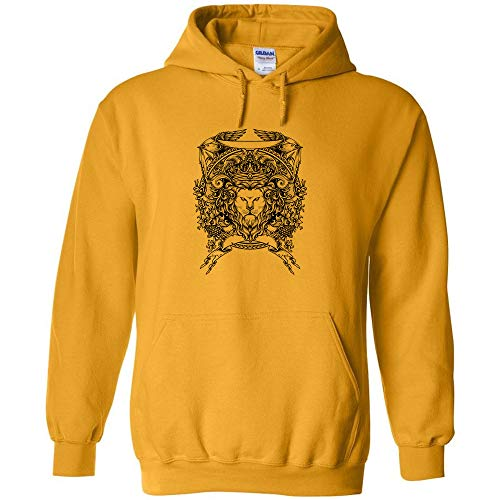 Lion Crest Logo Hoodie Tattoo Art Artist Jumper Pullover Hooded Fleece Sweatshirt Adult Humor Joke Hood ()