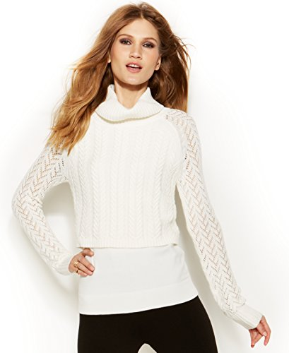 Vince Camuto Women's Cable Multi-Knit Cowl Neck Sweater Vanilla XL (Cowl Sweater Neck Vince)