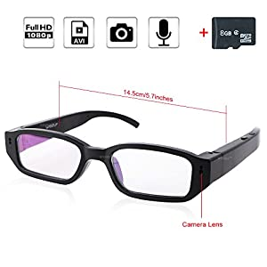 WISEUP 8GB 1920x1080P HD Hidden Spy Camera Glasses Portable DV Camcorder Eyewear