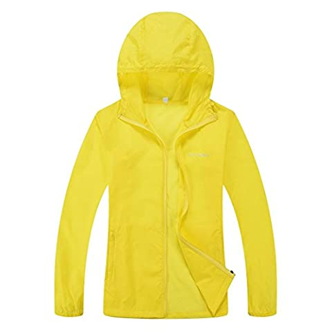 CHAREX Woman Lightweight Windproof Water Repellent Coat Sun Protection Outdoor Jacket Yellow S (Rain Repellant Spray)