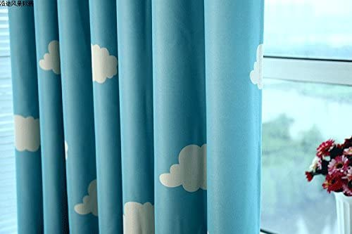 MYRU 1 Pair Blue and White Cloud Semi-Blackout Curtains for Boys Kids Children Nursery Room Bedroom Blue, 2 x 54×84 Inch