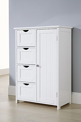 Home Source Bathroom Cabinet White Floor Standing 4 Drawer 1 Cupboard Bath Tidy Storage Unit Brown Source Ltd