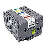 TZ TZe 121 221 421 521 621 721 Label Tape TZ, Compatible for Brother Model P-Touch PT H100 D200 D210 D600 1290 2430PC Label Maker, Laminated 0.35'' 26.2ft (9mm x 8m),6 Pack